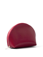 Paperthinks Recycled Leather Cosmetics Pouch in Scarlet Red-Angled view showing closed pouch