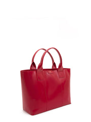 Paperthinks Recycled Leather Shopping Bag - Scarlet Red - Paperthinks.us