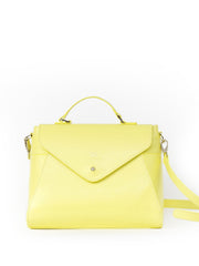 Paperthinks Recycled Leather Cross Body HandBag Grace - Limone - Paperthinks.us