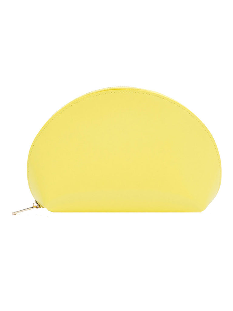 Paperthinks Recycled Leather Cosmetics Pouch in Limone-Side image showing closed pouch