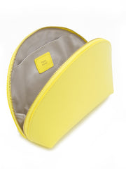 Paperthinks Recycled Leather Cosmetics Pouch Limone- Showing pouch open with cotton lining and slide pocket.