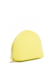 Paperthinks Recycled Leather Cosmetics Pouch Limone-Top Angle view