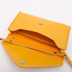 Paperthinks Recycled Leather Cross Body Envelope Clutch - Yellow Gold - Paperthinks.us