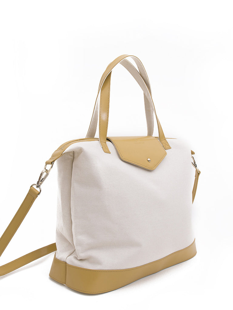 Paperthinks Canvas Zip Top Bag with Recycled Leather Accents - Latte - Paperthinks.us