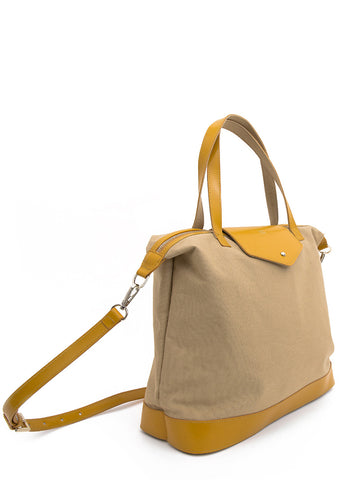 Paperthinks Canvas Zip Top Bag with Recycled Leather Accents - Cappuccino