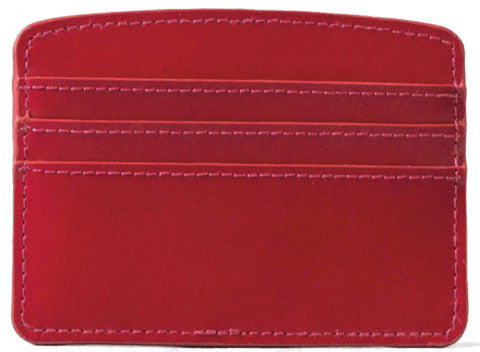 Paperthinks Recycled Leather Card Case in Scarlet Red-Front view