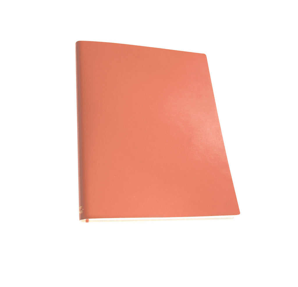 Paperthinks Recycled Leather Extra Large Lined Notebook 7 x 9 Inch - Peach - Paperthinks.us