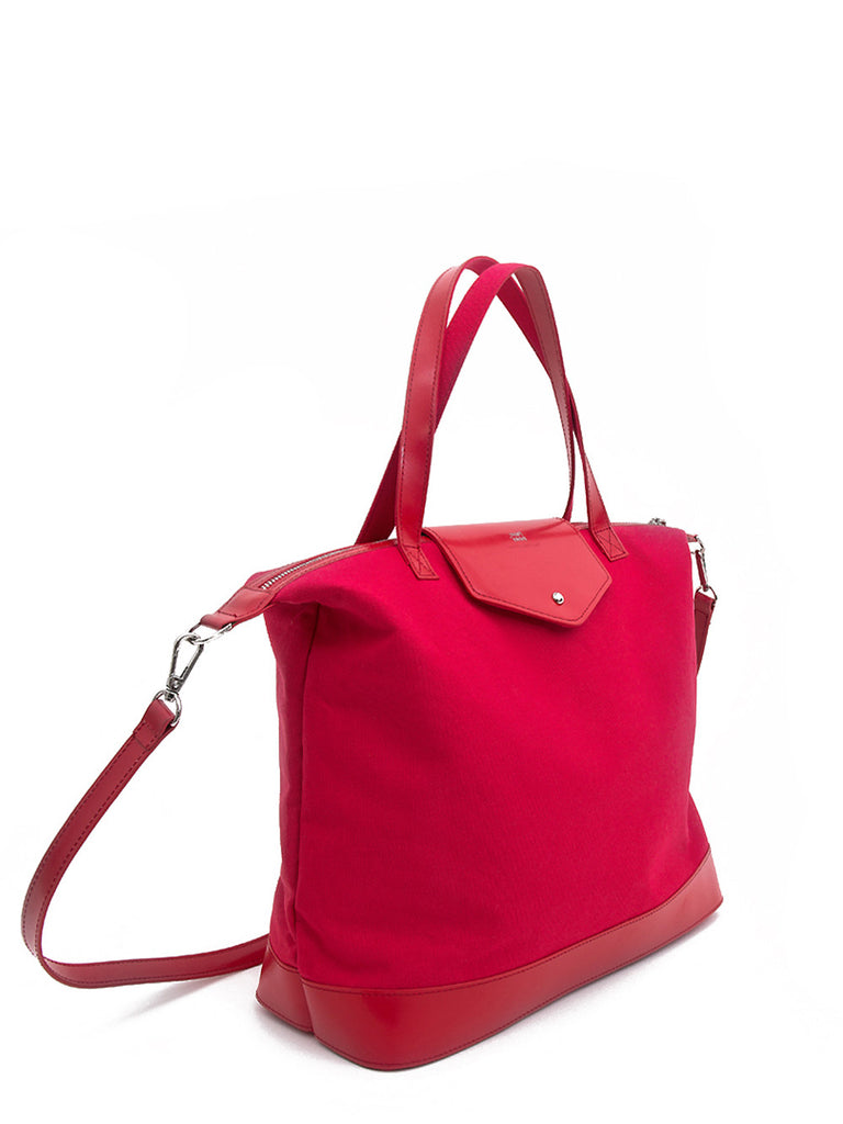 Paperthinks Canvas Zip Top Bag with Recycled Leather Accents- Crimson Red - Paperthinks.us