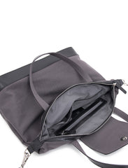 Paperthinks Canvas Zip Top Bag with Recycled Leather Accents - Charcoal - Paperthinks.us