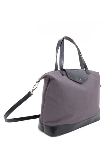 Paperthinks Canvas Zip Top Bag with Recycled Leather Accents - Charcoal