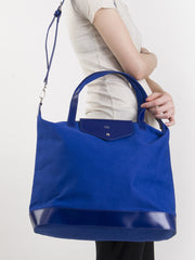 Paperthinks Canvas Zip Top Bag with Recycled Leather Accents - Navy Blue - Paperthinks.us