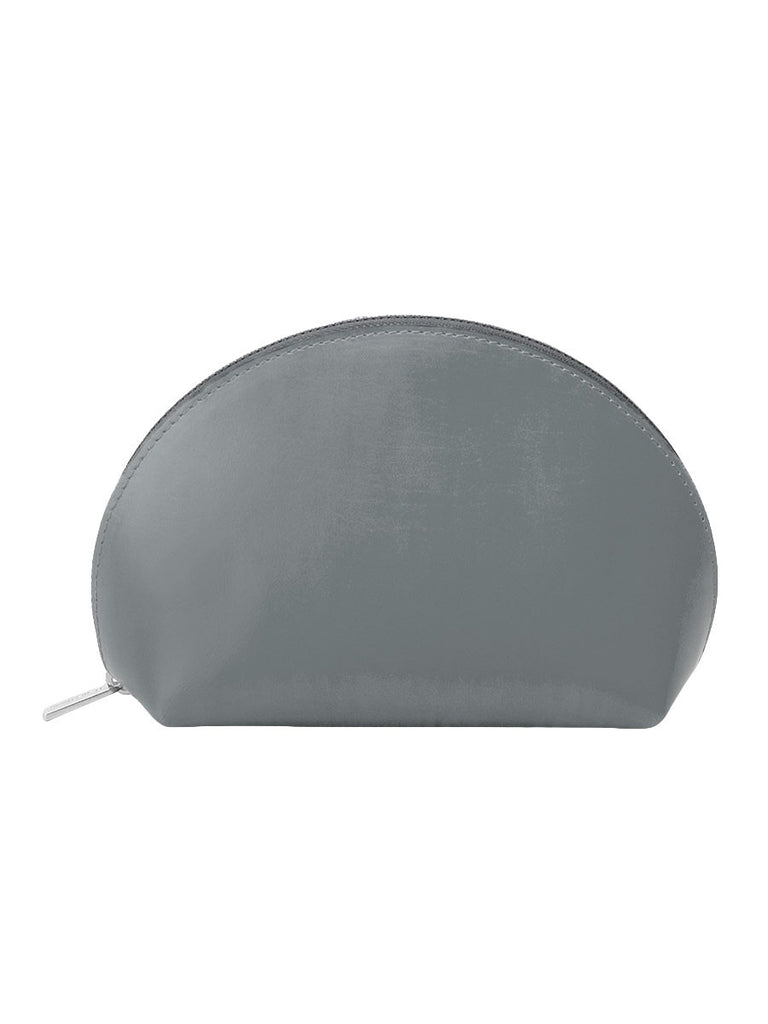 Paperthinks Recycled Leather Cosmetics Pouch in Charcoal Grey-Side image showing closed pouch