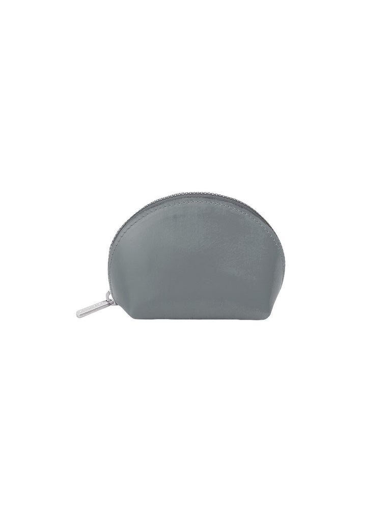 Paperthinks Recycled Leather Coin Pouch in Charcoal Grey-Closed Sideview