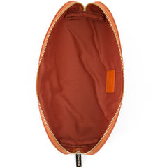 Paperthinks Recycled Leather Cosmetics Pouch Russet-Open showing cotton lining and slide pocket