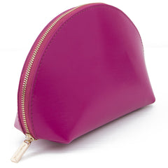 Paperthinks Recycled Leather Cosmetics Pouch in Claret-Angled view showing closed pouch
