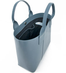 Paperthinks Recycled Leather Shopping Bag Charcoal Grey,  side top view open showing interior slide pocket