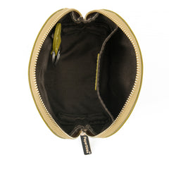 Paperthinks Recycled Leather Pouch Olive-View Open Showing cotton lining and key fob