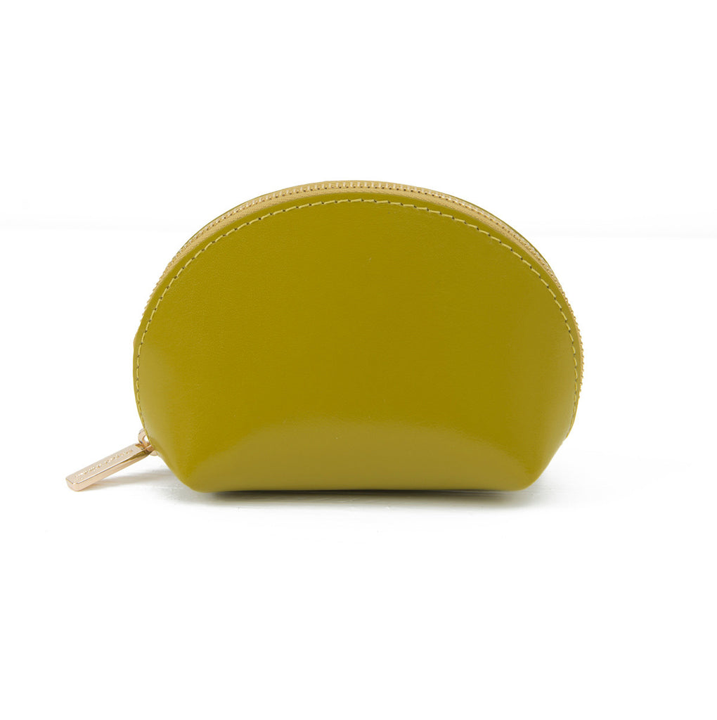 Paperthinks Recycled Leather Coin Pouch in Olive-Image showing front