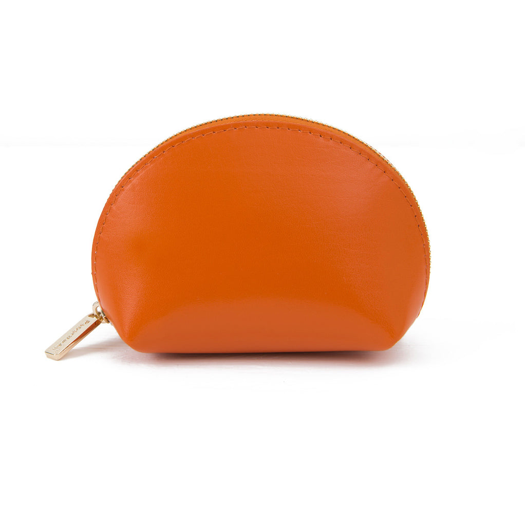 Recycled Leather Coin Pouch in Russet-Closed side view