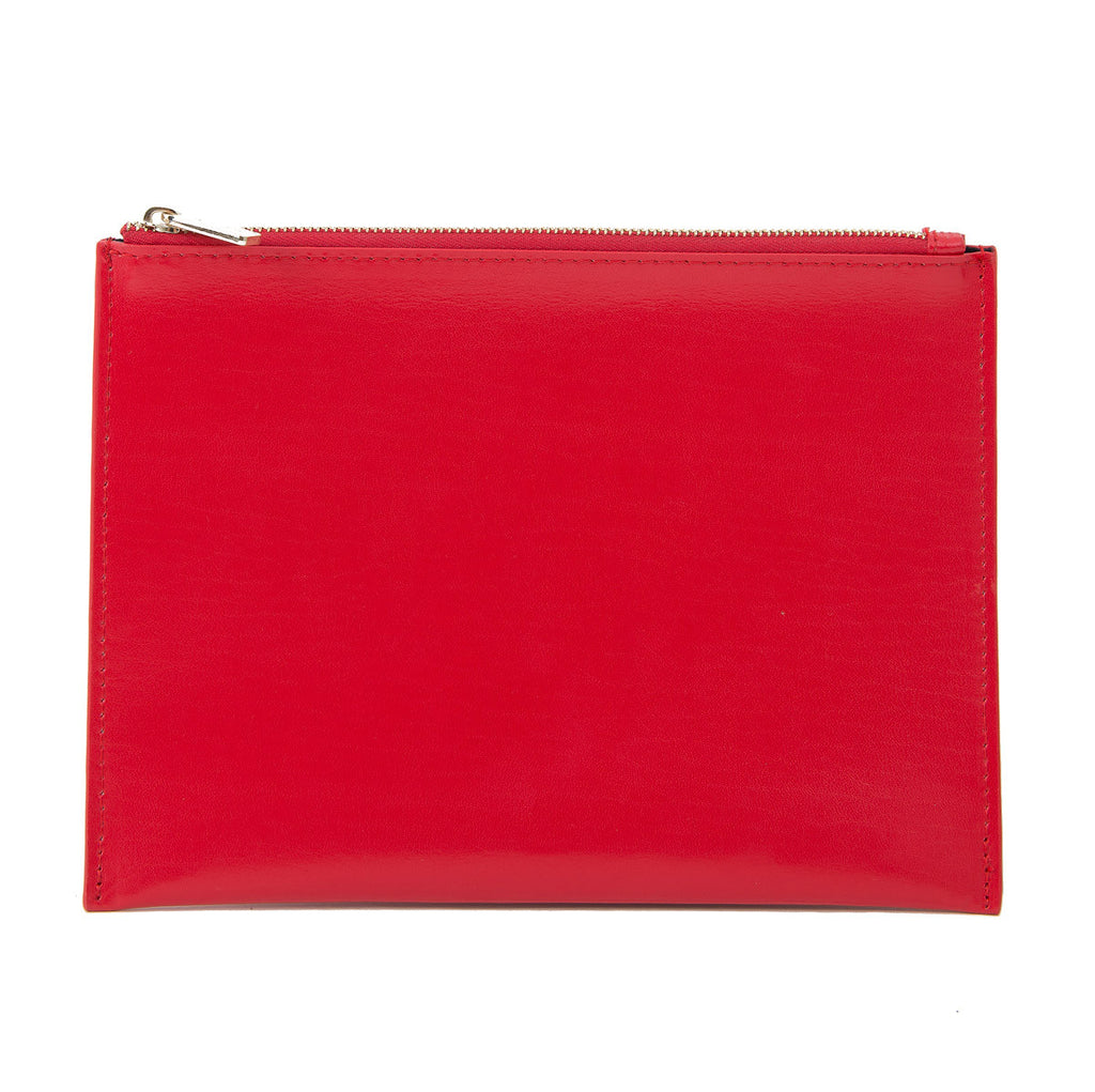 Paperthinks Recycled Leather Flat Zipper Pouch in Scarlet Red, front view.