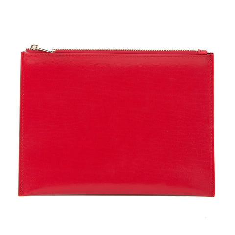 Paperthinks Recycled Leather Flat Zipper Pouch -  Scarlet Red