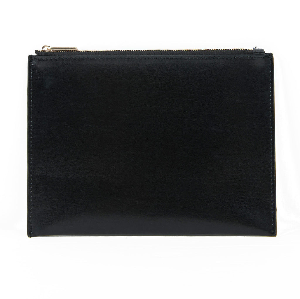 Paperthinks Recycled Leather Flat Zipper Pouch Black, front view.