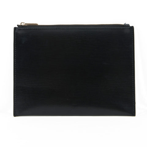 Paperthinks Recycled Leather Flat Zipper Pouch -  Black