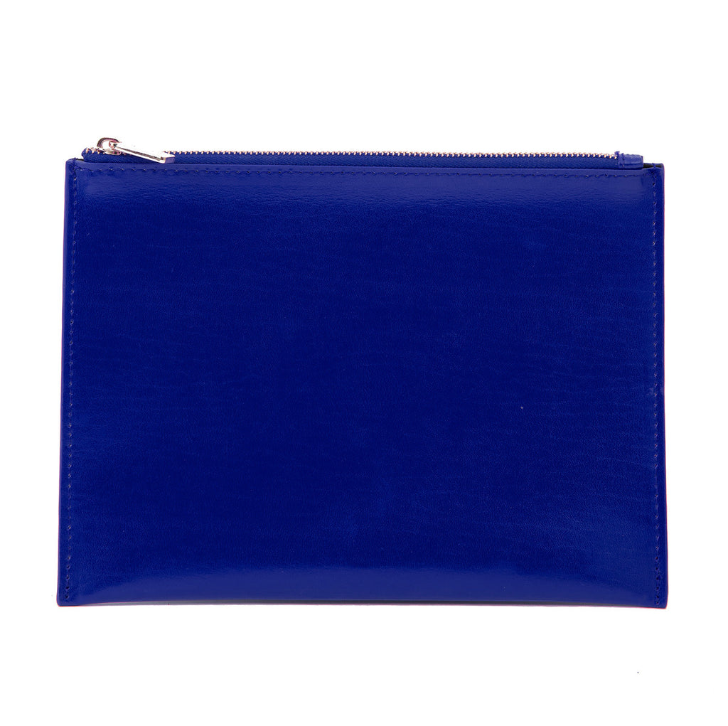Paperthinks Recycled Leather Flat Zipper Pouch in Navy Blue, front view.