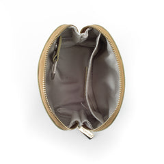 Paperthinks Recycled Leather Coin Pouch in Gold -Top view showing cotton Lining and slide pocket