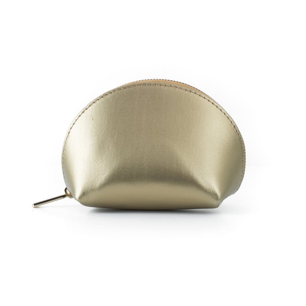 Paperthinks Recycled Leather Coin Pouch in Gold -Side Image