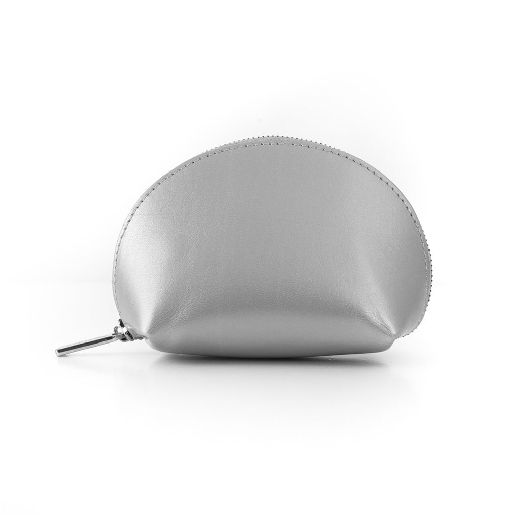 Paperthinks Recycled Leather Coin Pouch in Silver -Side Image