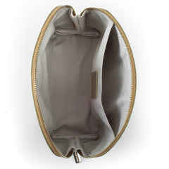 Paperthinks Recycled Leather Cosmetics Pouch Gold-Open showing cotton lining and slide pocket