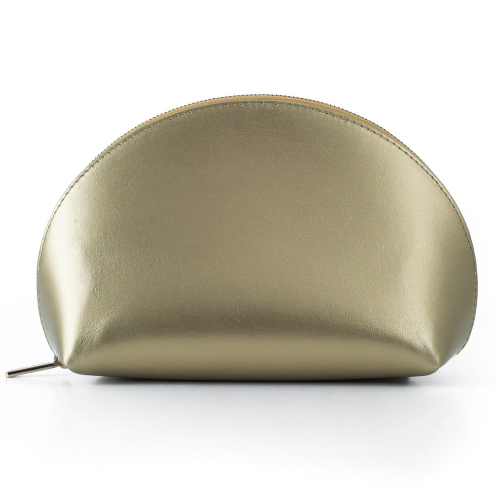 Paperthinks Recycled Leather Cosmetics Pouch in Gold-Side image showing closed pouch