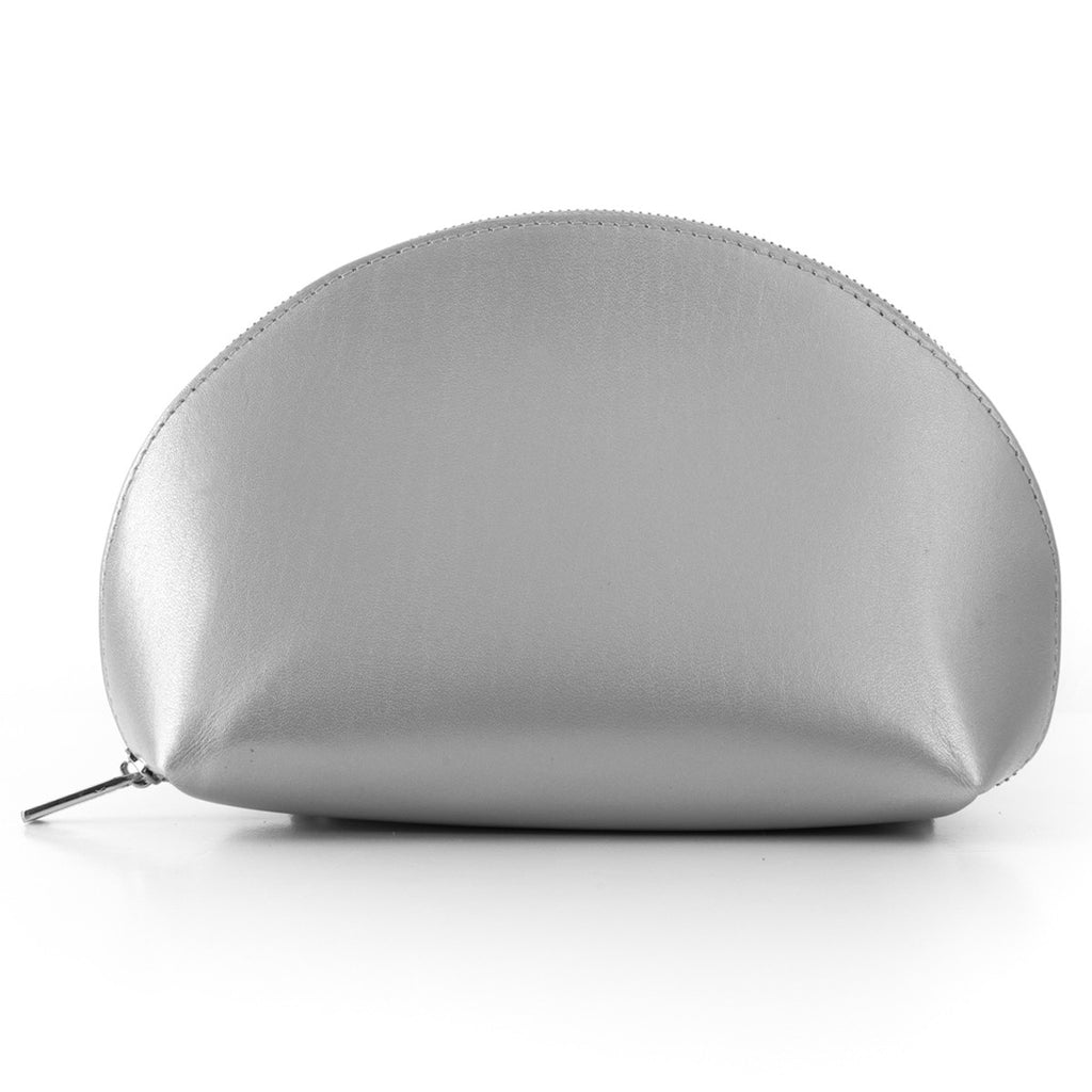 Paperthinks Recycled Leather Cosmetics Pouch -  Silver - Paperthinks.us