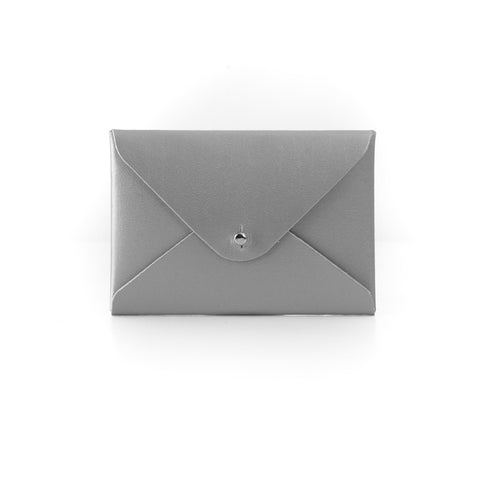 Paperthinks Recycled Leather Mini Folder Card Holder - Silver