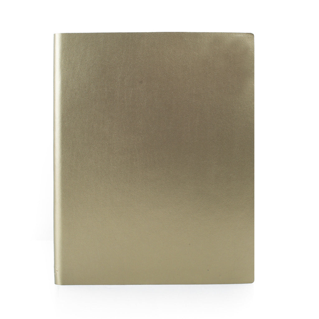 Paperthinks Recycled Leather Extra Large Notebook 7 x 9 Inch - Gold - Paperthinks.us