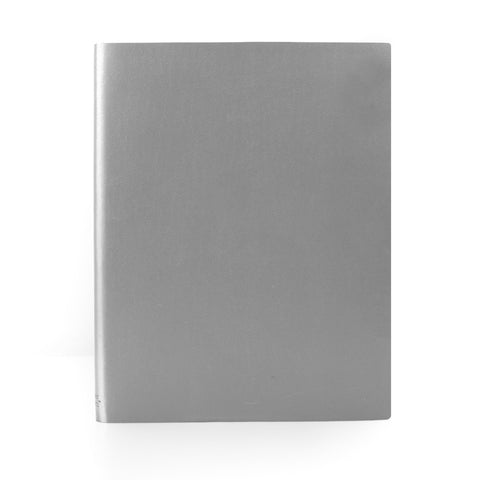 Paperthinks Recycled Leather Extra Large Notebook 7 x 9 Inch- Silver