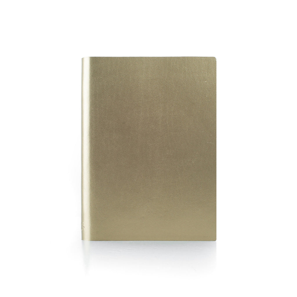 Paperthinks Recycled Leather Large Notebook 4.75 x 6.5 Inch - Gold - Paperthinks.us