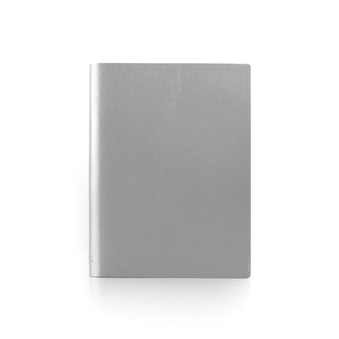 Paperthinks Recycl3ed Leather Large Notebook 4.75 x 6.5 Inch- Silver