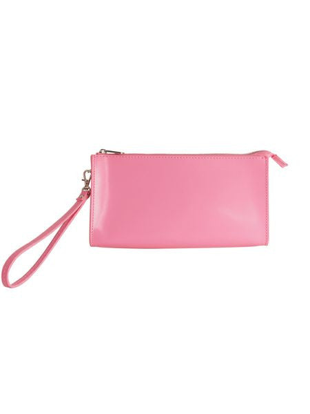 Paperthinks Recycled Leather Clutch Bag with Detachable Wrist Band-Fuchsia - Paperthinks.us