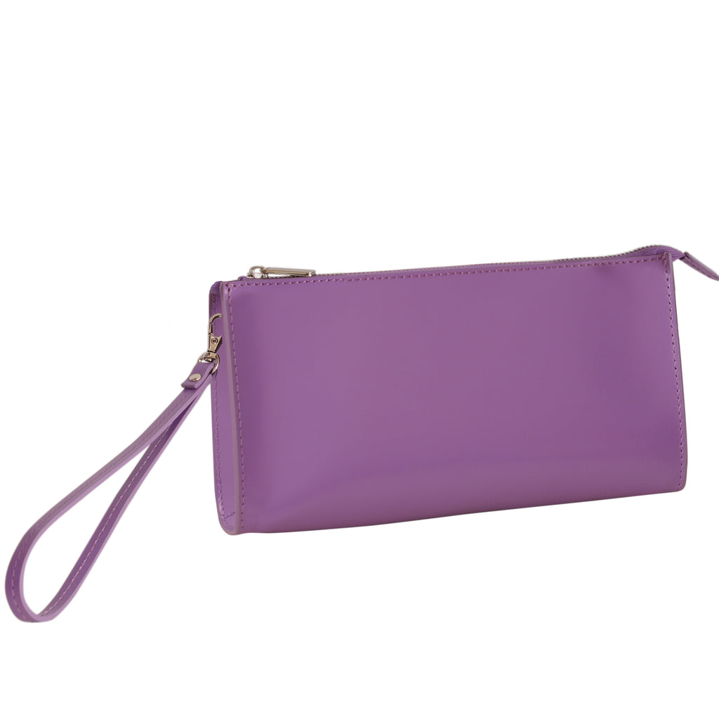 Paperthinks Recycled Leather Clutch Bag with Detachable Wrist Band-Violet - Paperthinks.us