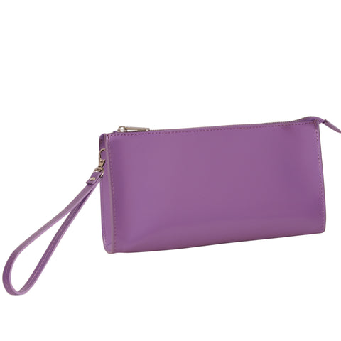 Paperthinks Recycled Leather Clutch Bag with Detachable Wrist Band-Violet