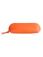 Paperthinks Recycled Leather Long Pouch Tangerine Orange -Side view closed