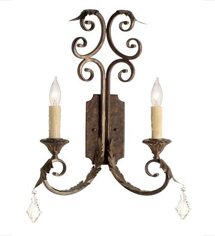 serratina 2 light wall sconce
