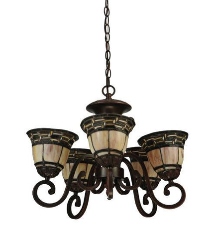 Image of 5 light chandelier with shades