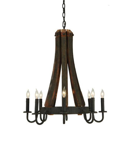 "Image of 24""W Barrel Stave Madera 8 LT Chandelier"