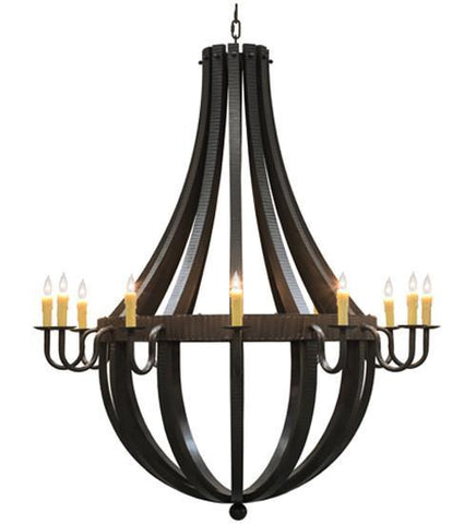 "Image of 72""W Barrel Stave Metallo 12 LT Chandelier"