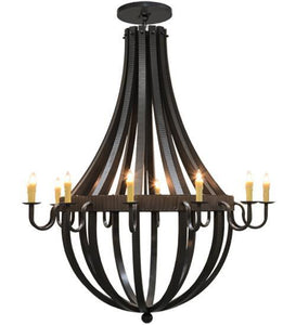 "72""W Barrel Stave Metallo 12 LT Chandelier"