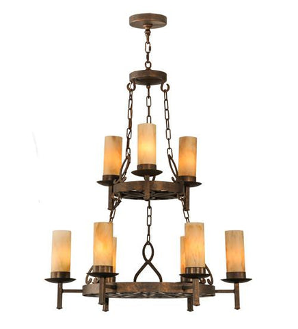 "Image of 33"" Wide Newcastle 9 Light Two Tier Chandelier"