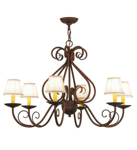"Image of 36""W Jenna 6 LT W/Fabric Shades Chandelier"